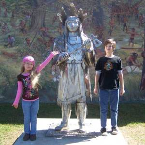 Jakob, Jenna, and a statue of Chief Cornstalk